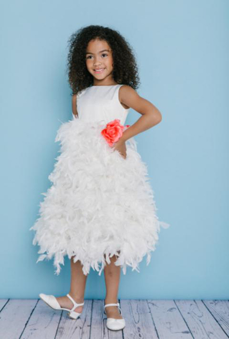 7b01ac08137 Style 5120 is a T-length Flower Girl dress with a feather skirt and a ...
