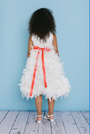4d9b65617f5 ... Style 5120 is a T-length Flower Girl dress with a feather skirt and a